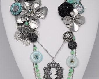 "Hand Wired Multi Media Bib Necklace--""A Night at the Aqua"""
