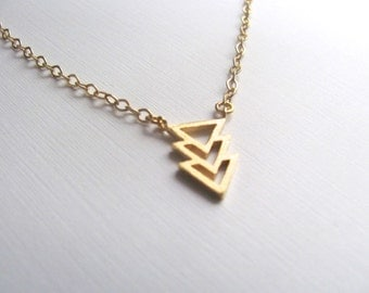 Tiny triple triangle pendant necklace in gold, geometric jewelry, 14k gold plated chain, layering necklace
