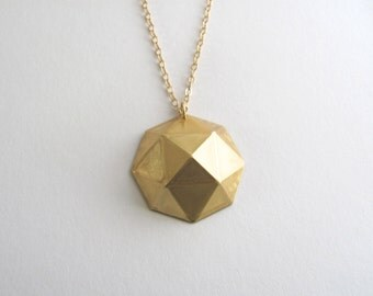 Geometric pendant necklace, vintage raw brass, 14k gold plate chain