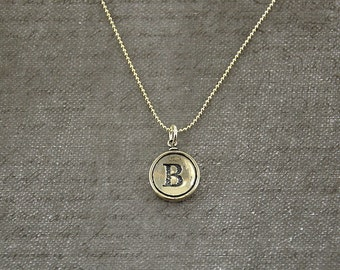 Letter B Necklace - Silver Initial Typewriter Key Charm Necklace - Gwen Delicious Jewelry Design