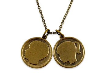 Girl and Boy Silhouette Necklace - Daughter and Son Necklace - Customize for your kids- Solid Gold Bronze