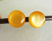Orange Plastic Earrings, Orange Buttons, Button Earrings, Orange Lucite Jewelry, Bakelite Jewelry Vintage Round Earrings, Bakelite Earrings