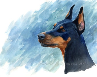 Doberman - 8x10 Giclee Print from Watercolor