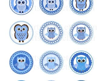 Instant Download - Blue Owls Printable Collage Sheet - 2 inch circles for cupcake toppers, magnets, pendants 342