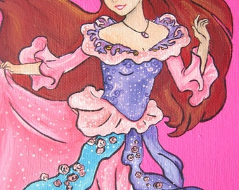 SALE- Little Mermaid Princess Ariel Art Work Painting- on Canvas/Sea Decor/ Nursery Decor/ Beach House