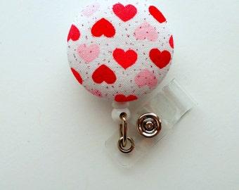 Red and Pink Hearts - Retractable ID Felt Badge Holder - Valentine Badge Reel - Nurses Badge Holder - Cardiac Badge - Teacher Badge