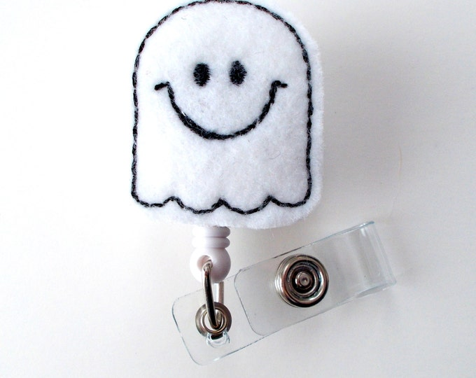 Happy Ghost - Retractable ID Badge Reel - Name Badge Holder - Cute Badge Reel - Nurse Badge Holder - Nursing Badge Clip - Felt Badge