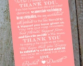 Custom Wedding Thank You Card with Bride and Grooms Name & Date. Style #2. Family and Friends Reception Table Card.  DIY Printable.