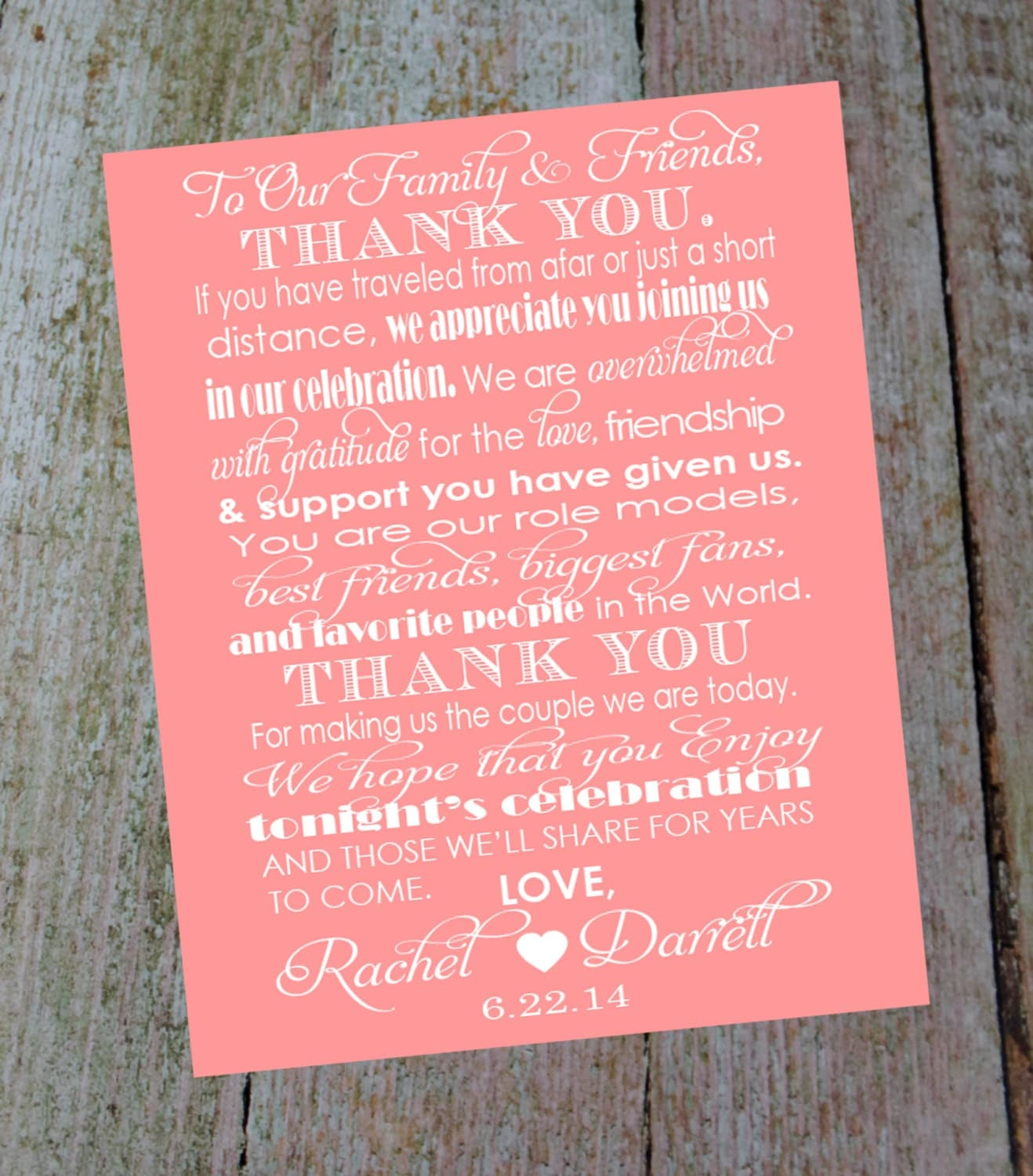 custom wedding thank you card with bride and grooms name