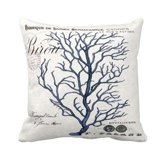 Pillow Cover Blue Coral Beach Decor