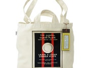 FREE SHIPPING 100% Recycled Cotton Tote Bag with Dual Handles- The Gospel of the Clean Plate WW1 Poster
