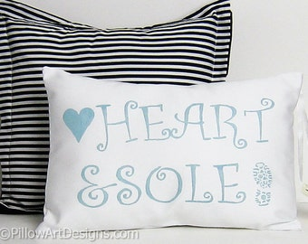 Sports Decoration Pillow Marathon Runner Decorative Cushion Heart and Sole Ice Blue and White Made in Canada