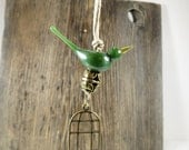 Emerald green bird ornament, bird cage Christmas tree ornament, birdcage gift hang tag, wedding favor, custom color