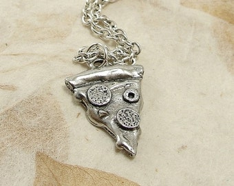 Pizza Necklace, Silver Pepperoni Pizza Charm on a Silver Cable Chain