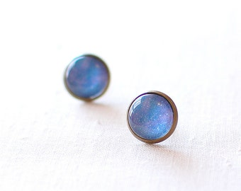 SALE -50% OFF. Speckled Blue Galaxy Earrings. Space Earrings. Universe Earrings. Galaxy Studs. Space Stud Earrings. Universe Post Earrings.