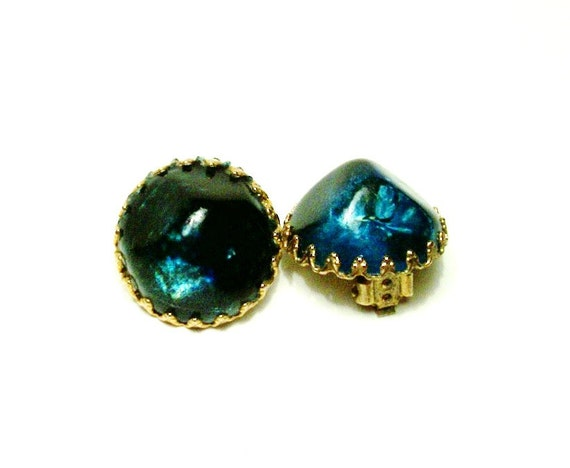 Vintage Clip On Teal Moon Glow Thermoset Earrings, 1950's Retro, Mid Centry, Mad Men, Teal Lucite, VisionsOfOlde