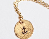 Gold Anchor Necklace Gold Disc Necklace Nautical Jewelry 14k gold filled jewelry