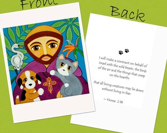 Saint FRANCIS of Assisi with Dog Cat & Bird - Set of 4 - Blank NOTE CARDS from Painting by Jill