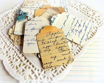 Vintage Recipe Card Merchandise Tags / 15 Pieces / Tags / Vintage Recipes / Junk Journal