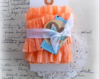 Ruffled Vintage Crepe Paper Garland  / Light Peach / Wedding Decor