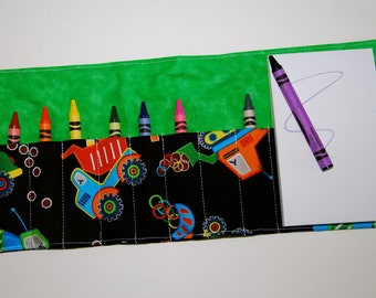 Crayon Roll Up - Crayon Holder - Crayon Organizer with Pad & Crayons - Construction, Diggers