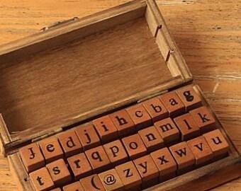 retro STAMP ALPHABET lowercase letter stamps set