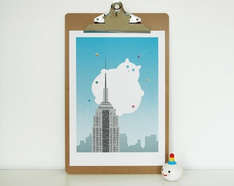 Cat New York print, pet lovers wall art