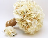 Reserved - Wedding Bouquet Cream Silk Hydrangea Groom's Boutonniere Bridesmaids Bouquets - Custom Wedding Flower Package