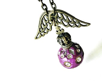 Purple Glitter Bomb Pendant Necklace Antique Brass Crown Angel Wings Long Chain Polymer Clay Bead Crystal Rhinestone Handmade Jewelry Canada