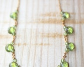 Spring Sale - Peridot Briolette Necklace. Gold Filled Chain.