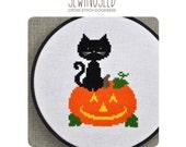Halloween Cross Stitch Pattern, Black Cat and Jack o lantern Instant Download