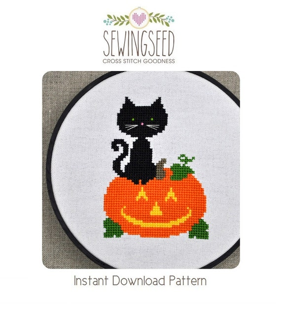Halloween Cross Stitch Pattern, Black Cat and Jack o lantern Instant Download