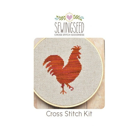 Rooster Cross Stitch Kit, DIY Kit, Embroidery Kit