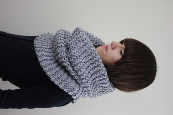 Hand Knit Cowl Scarf Womens Knitted Cowl Scarf Mens Cowl by zukas