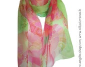Hand painted Silk scarf pink green-Young Love