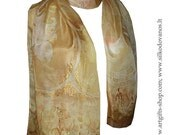 Hand Painted silk scarf  in brown pastels