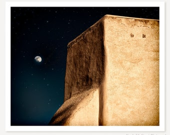 This Dark Brightness - New Mexico Photo - Night Photography - Taos Church Photo - Southwestern Art Print