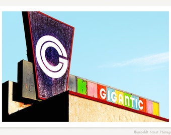 Gigantic - Vintage Sign Photograph - Color Photography - Retro Typography - Rainbow Art - Purple Blue Red Green Yellow Pink