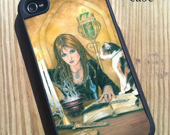iPhone 4/4s Case Sorceress with her Cat Art
