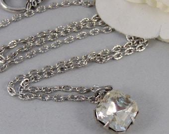 Vintage Diamonds,Necklace,Pendant,Silver Necklace,Diamond,Vintage,Vintage Rhinestone,Diamond Necklace. Jewelery by valleygirldesigns.