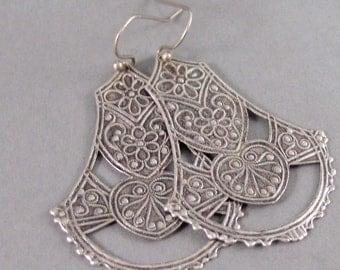 Gypsy Lace,Silver Earrings,Antique,Vintage Style,Wedding,Bride,Antique Earrings,Boho,Hamsa,Boho Earring,Hoop Earring.valleygirldesign