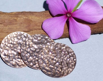 Copper Disc 24g 28.5mm Hammered Blanks Cutout for Enameling Stamping Texturing - 4 pieces