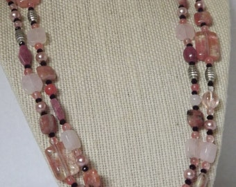 Pink Quartz and Pearl Necklace