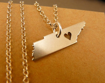 TENNESSEE Map Handmade Personalized Sterling Silver .925 Necklace in a gift box