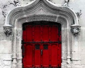 Red Door, Paris Photography, Travel, Red Paris Door, Gray, White, Red, Architecture, Rustic Paris Wall Decor