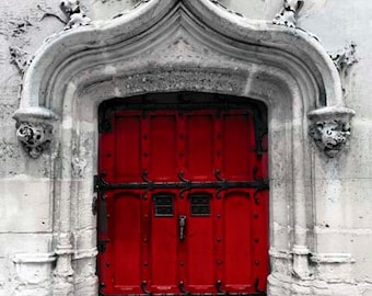 Red Door, Paris Photography, Travel, Red Paris Door, Gray, White, Red, Architecture, Rustic Paris Wall Decor