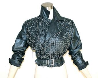 GIANNI VERSACE Vintage Leather Jacket Metallic Gunmetal Woven Chain Motorcycle Coat - AUTHENTIC -