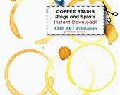 Coffee Stains Rings and Splats Digital Clip Art INSTANT DOWNLOAD Printable