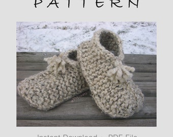 Knitting Pattern Wool MEDIUM Slipper Socks - Knitted Slippers Pattern - Hand Knit Slippers - Wool Adult Medium