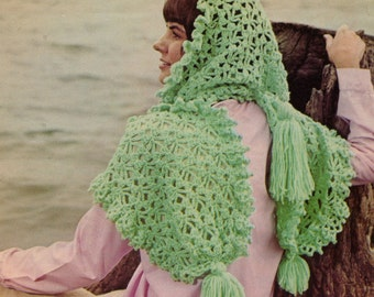 Vintage Crochet Hooded Scarf Pattern